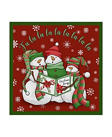 "Jean Plout 'Christmas Songs Snowmen' Canvas Art - 14"" x 14"""