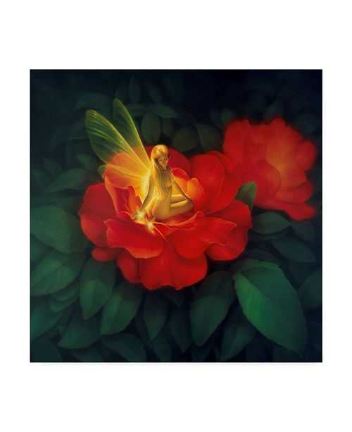 """Trademark Global Kirk Reinert 'Night Light Red' Canvas Art - 14"""" x 14"""""""