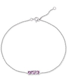 Amethyst Three-Stone Ankle Bracelet (5/8 ct. t.w.) in Sterling Silver