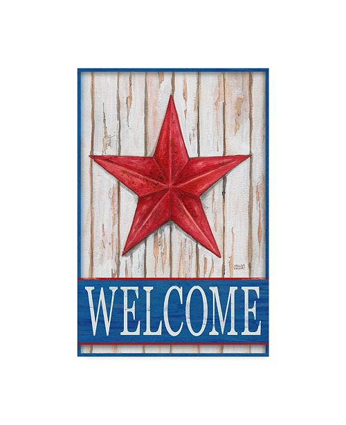 "Trademark Global Melinda Hipsher 'Welcome Barn Starred White Blue' Canvas Art - 12"" x 19"""