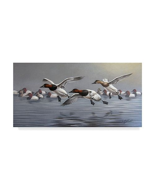 "Trademark Global Wilhelm Goebel 'Canvasbacks Coming In' Canvas Art - 12"" x 24"""