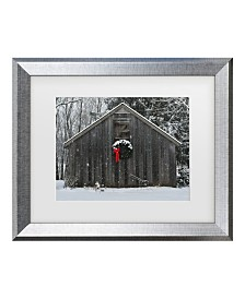 "Kurt Shaffer 'Christmas Barn In The Snow' Matted Framed Art - 11"" x 14"""