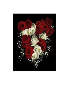 """Susan S. Barmon 'Roses And Babys Breath' Canvas Art - 14"""" x 19"""""""