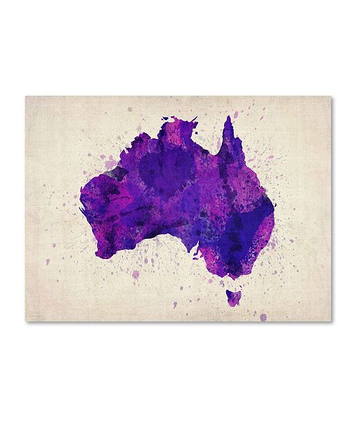 "Trademark Global Michael Tompsett 'Australia Paint Splashes Map' Canvas Art - 14"" x 19"""
