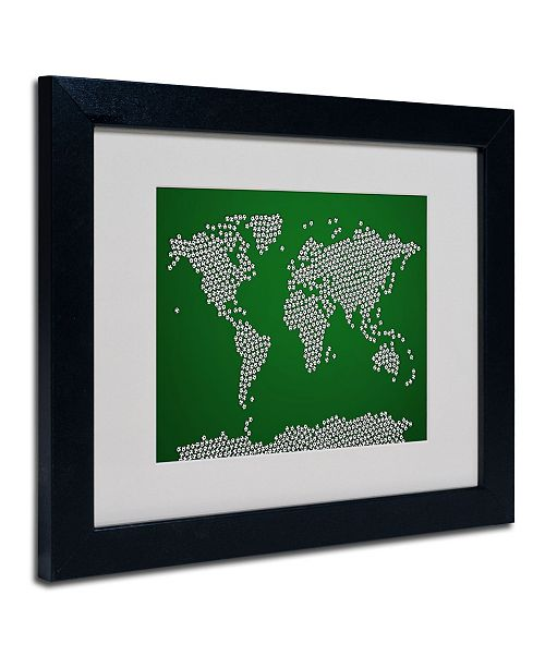 "Trademark Global Michael Tompsett 'Soccer Balls World Map' Matted Framed Art - 14"" x 11"""