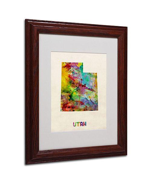 """Trademark Global Michael Tompsett 'Utah Map' Matted Framed Art - 14"""" x 11"""""""