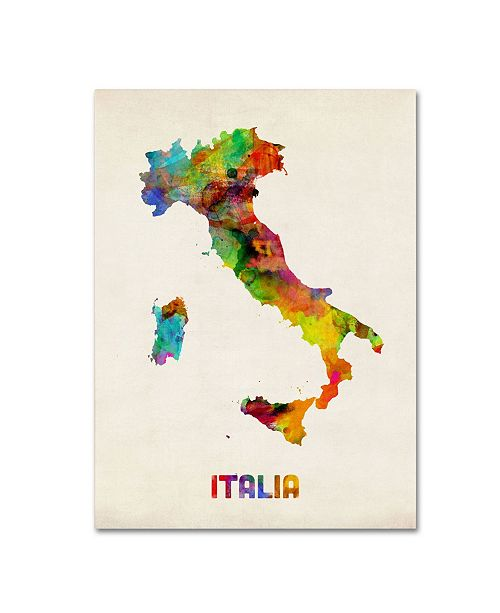 "Trademark Global Michael Tompsett 'Italy Watercolor Map' Canvas Art - 14"" x 19"""