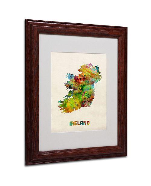 """Trademark Global Michael Tompsett 'Ireland Watercolor Map' Matted Framed Art - 14"""" x 11"""""""