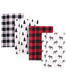 One size Flannel Burp Cloths, 4 Pack