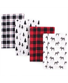 Hudson Baby Flannel Burp Cloths, 4 Pack, One size