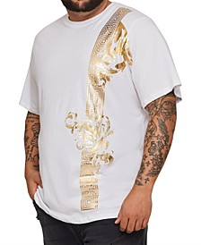 MVP Collections Big and Tall Gold Floral Scroll Screen T-Shirt