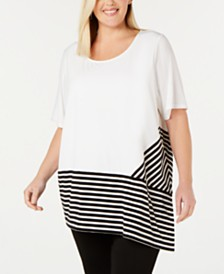 Calvin Klein Plus Size Striped-Trim Asymmetrical Top