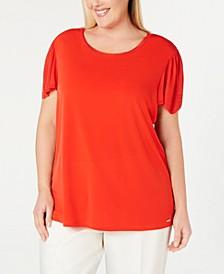 Plus Size Sweater-Knit-Trim Top