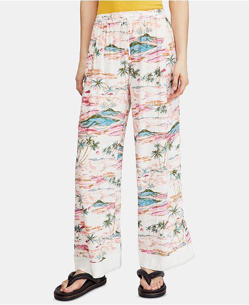 Free People Blue Lagoon Printed Drawstring Pants