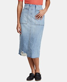 Free People Elisa Pencil Ripped Denim Skirt