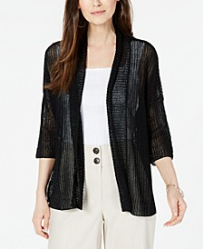 Open-Stitch Linen-Blend Kimono Cardigan, Created for Macy's