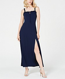Juniors' Ruffled Lace-Up Maxi Dress