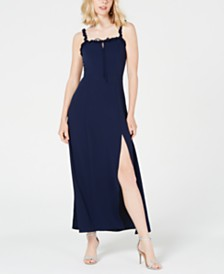 Teeze Me Juniors' Ruffled Lace-Up Maxi Dress