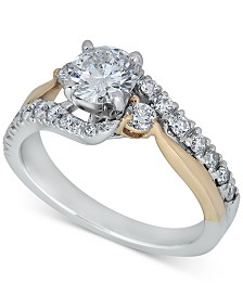 Diamond Two-Tone Twist Engagement Ring (1-1/5 ct. t.w.) in 14k Gold & White Gold