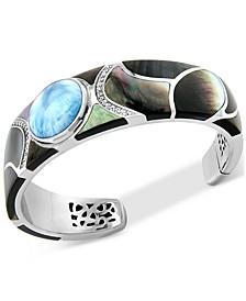 Multi-Gemstone Cuff Bracelet in Sterling Silver