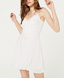 Juniors' Ruched Drawstring Fit & Flare Dress