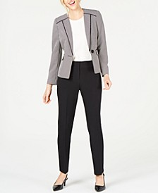 Two-Tone Birdseye One-Button Pantsuit