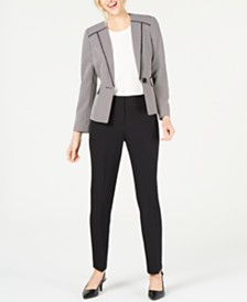 Le Suit Petite Birdseye One-Button Pant Suit