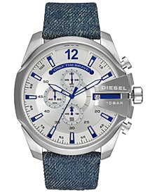 Men's Chronograph Mega Chief Blue Denim Strap Watch 51mm