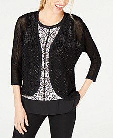 Petite Mixed-Stitch Cotton Cardigan Sweater, Created for Macy's