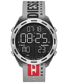 Men's Digital Crusher Gray Canvas Strap Watch 48mm