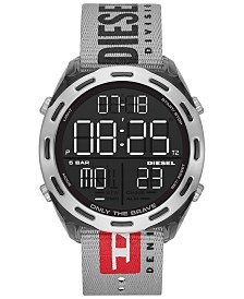 Diesel Men's Digital Crusher Gray Canvas Strap Watch 48mm
