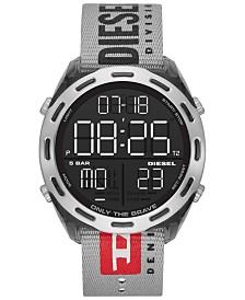 Diesel Men's Digital Crusher Gray Canvas Strap Watch 48mm