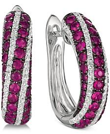 Le Vian® Passion Ruby (1-1/10 ct. t.w.) & Vanilla Diamonds® (1/3 ct. t.w.) Hoop Earrings in 14k White Gold