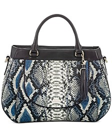 Brahmin Raelynn Cobalt Ballington Embossed Leather Satchel