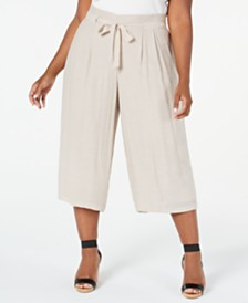JM Collection Plus Size Wide-Leg Capri Pants, Created For Macy's