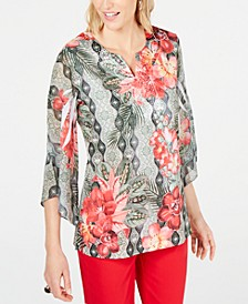 Printed Embellished Split-Neckline Top, Created for Macy's