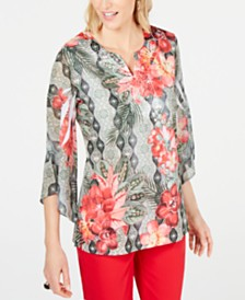 JM Collection Printed Embellished Split-Neckline Top, Created for Macy's