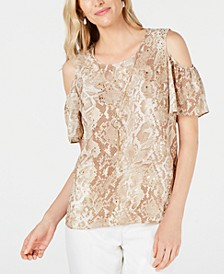 Petite Embellished Cold-Shoulder Snake Skin Printed Necklace Top, Created for Macy's