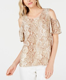 JM Collection Petite Embellished Cold-Shoulder Snake Skin Printed Necklace Top, Created for Macy's