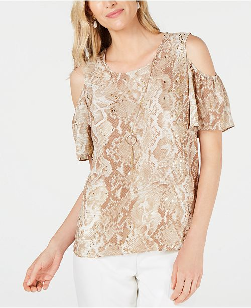 JM Collection Printed Cold-Shoulder Necklace Top, Created for Macy's