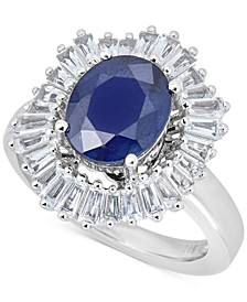 Sapphire (3 ct. t.w.) & White Topaz (1-1/5 ct. t.w.) Ring in 10k White Gold