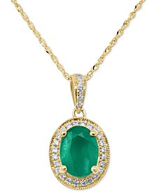 "Emerald (1-1/10 ct. t.w.) & Diamond (1/8 ct. t.w.) 18"" Pendant Necklace in 14k Gold"
