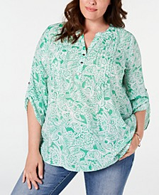 Plus Size Paisley Printed Pleated Top