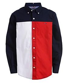 Big Boys Calvin Colorblocked Logo-Print Poplin Shirt