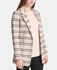 DKNY Petite Striped Jacquard Open-Front Jacket