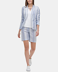 Tommy Hilfiger Striped Blazer & Shorts, Created for Macy's