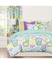 Crayola Pointillist Pansy 5 Piece Twin Luxury Duvet Set