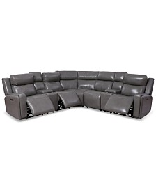Saran 7-Pc. Leather Sectional Sofa with 3 Power Recliners, 2 Consoles & USB Port