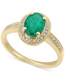 Emerald (1-1/10 ct. t.w.) & Diamond (1/8 ct. t.w.) Ring in 14k Gold