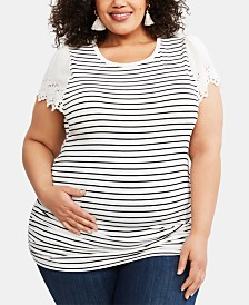 Motherhood Maternity Plus Size Lace-Sleeve Top